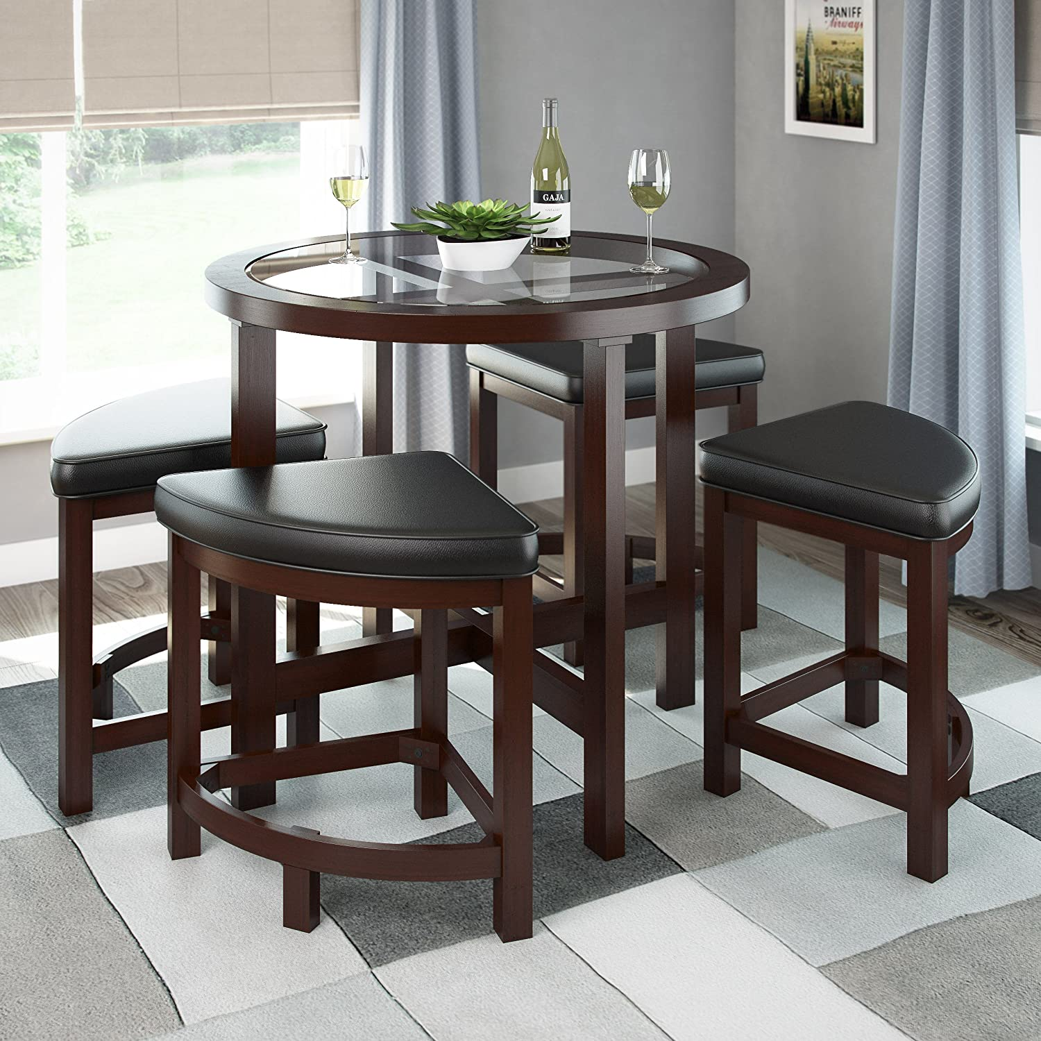 Amazon.com   CorLiving DBG 699 K Belgrove Dark Espresso Stained Dining Table  With 4 Stools   Tables