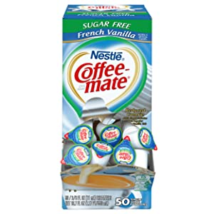NESTLE COFFEE-MATE Coffee Creamer, Sugar Free French Vanilla, liquid creamer singles, 50 Count (Pack of 1)