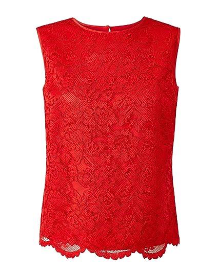 d583f6c2ebc JD Williams Womens Joanna Hope Lace Shell Top Red, 10: Amazon.co.uk ...