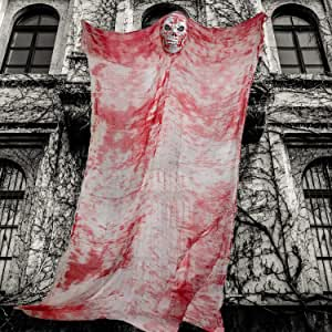 Halloween Ghost Hanging Decorations 10ft Giant Hanging Ghosts Halloween Props in Bloody Horror Robe Scary Spooky Flying Ghost for Haunted House Halloween Outdoor Indoor Yard Party Hanging Decoration