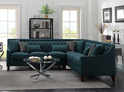 Iconic Home FSA2676 AN Chic Aberdeen Linen Tufted Down Mix Modern  Contemporary Right Facing Sectional