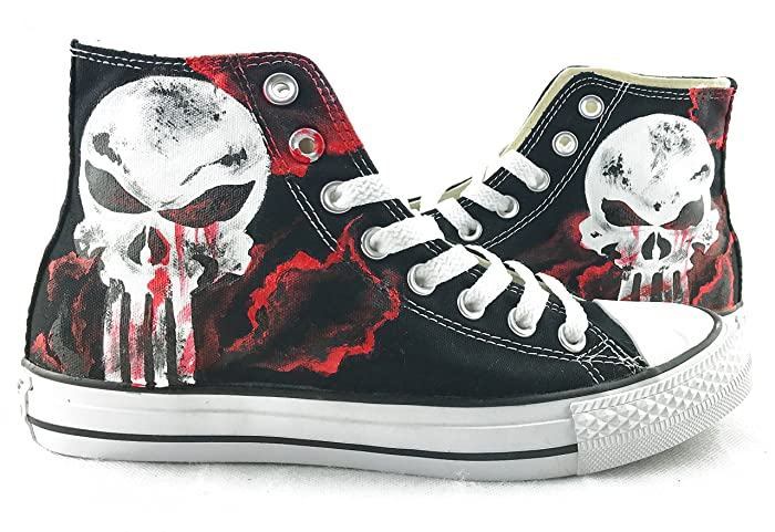 The Punisher Skull Shoes Canvas Shoes Chuck Sneakers Hand Painted Shoes Men Women  Sneakers Free Shipping  Amazon.co.uk  Handmade 7768b0889014