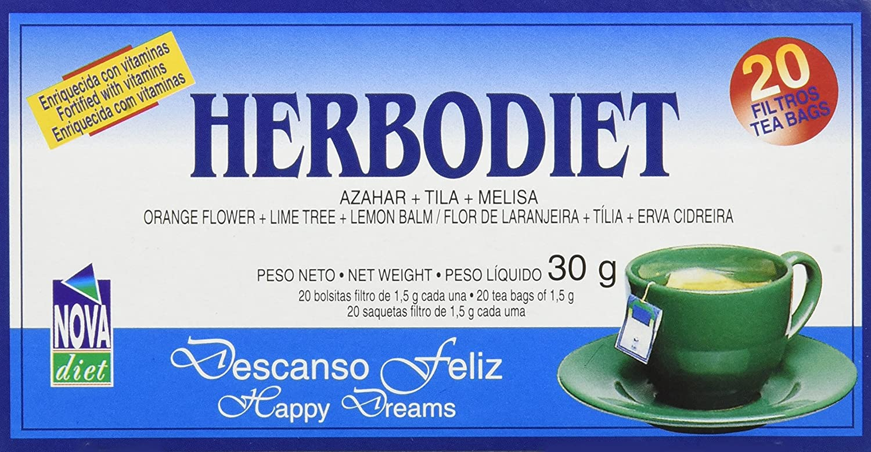 Novadiet Infusión Herbodiet Descanso Feliz - 6 Paquetes de 20 Unidades: Amazon.es: Salud y cuidado personal