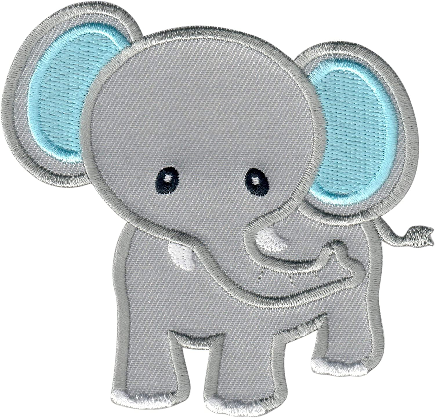 Grey//Blue Embroidered Applique Motif for Children Kids Baby PatchMommy Elephant Patch Iron on//Sew On