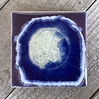 product image for Geode Crackle Coaster in Purple, Individual Coaster, Geode Coaster, Agate Coaster, Fused Glass Coaster, Crackle Glass Coaster, Dock 6 Pottery Coaster, Dock 6 Pottery, Kerry Brooks Pottery