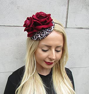 c7afab3438e6b Deep Red Leopard Animal Print Rose Flower Fascinator Rockabilly Headpiece  2313  EXCLUSIVELY SOLD…