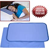 Frosty Cooling Pillow Gel Mat + STORAGE COVER - Large Adult Size (12.5 x 22 inches) - Best Cold Pad for Night Sweats, Migraines, Hot Flashes, Fevers, Neck Pain