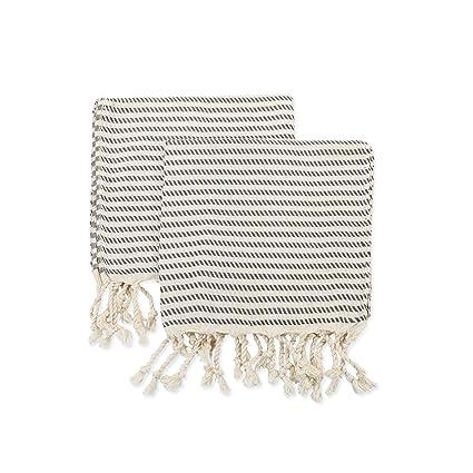 Set de 2 hand-loomed Natural toalla de mano, toalla de cocina, 100