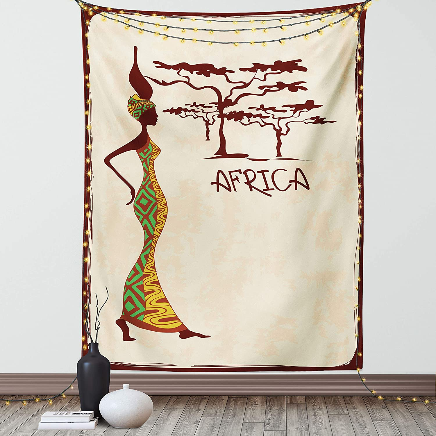 Lunarable African Tapestry, Vintage Lady Carrying a Pot Native Grace Savannah Exotic Female Graphic, Fabric Wall Hanging Decor for Bedroom Living Room Dorm, 30