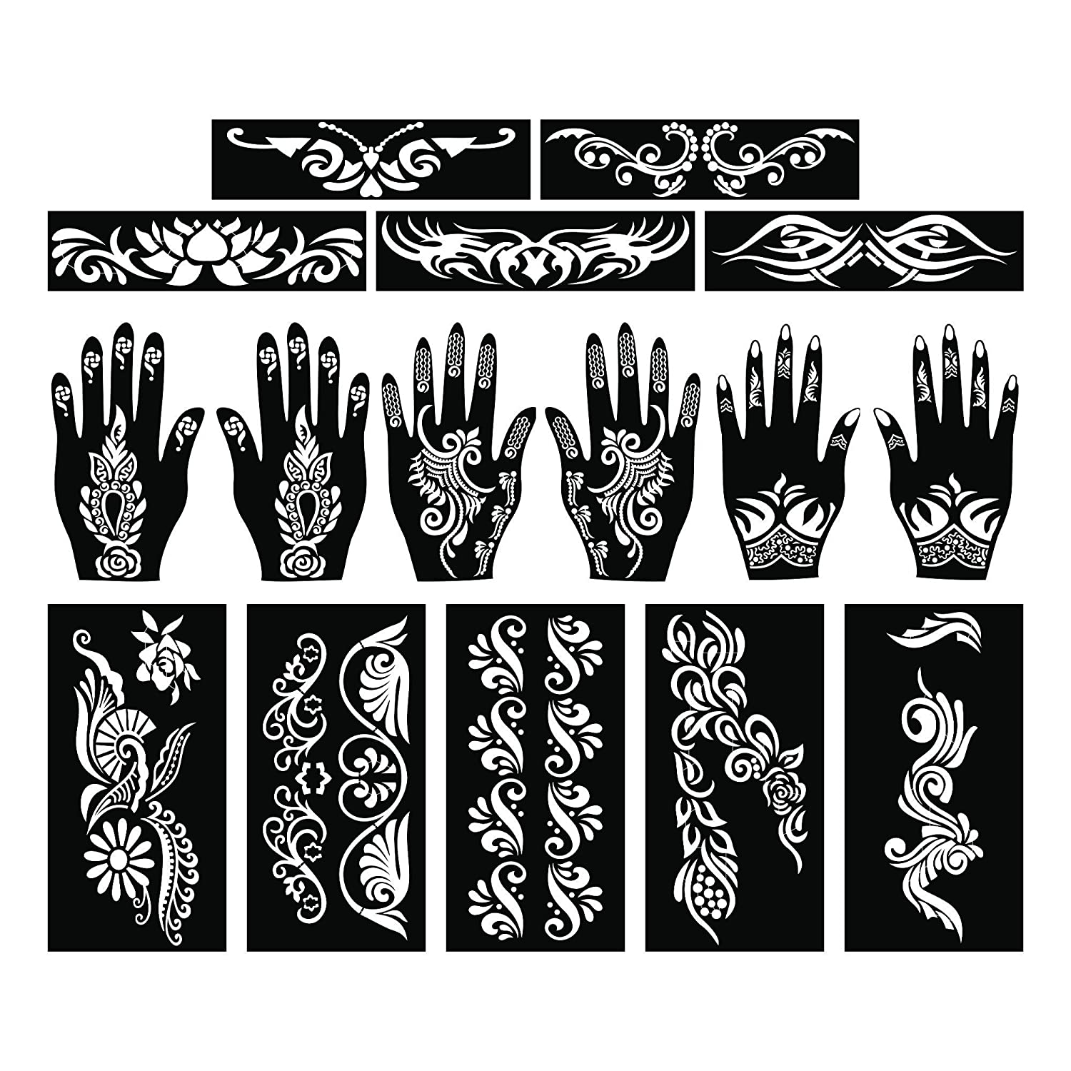 ff136cd67 Amazon.com : PARTH IMPEX Henna Tattoo Stencils (Pack of 16) Self Adhesive  Full Body Paint Designs Template for Temporary Mehndi Drawing Hand Arms  Shoulders ...