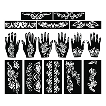 Amazon Com Parth Impex Henna Tattoo Stencils Pack Of 16 Self