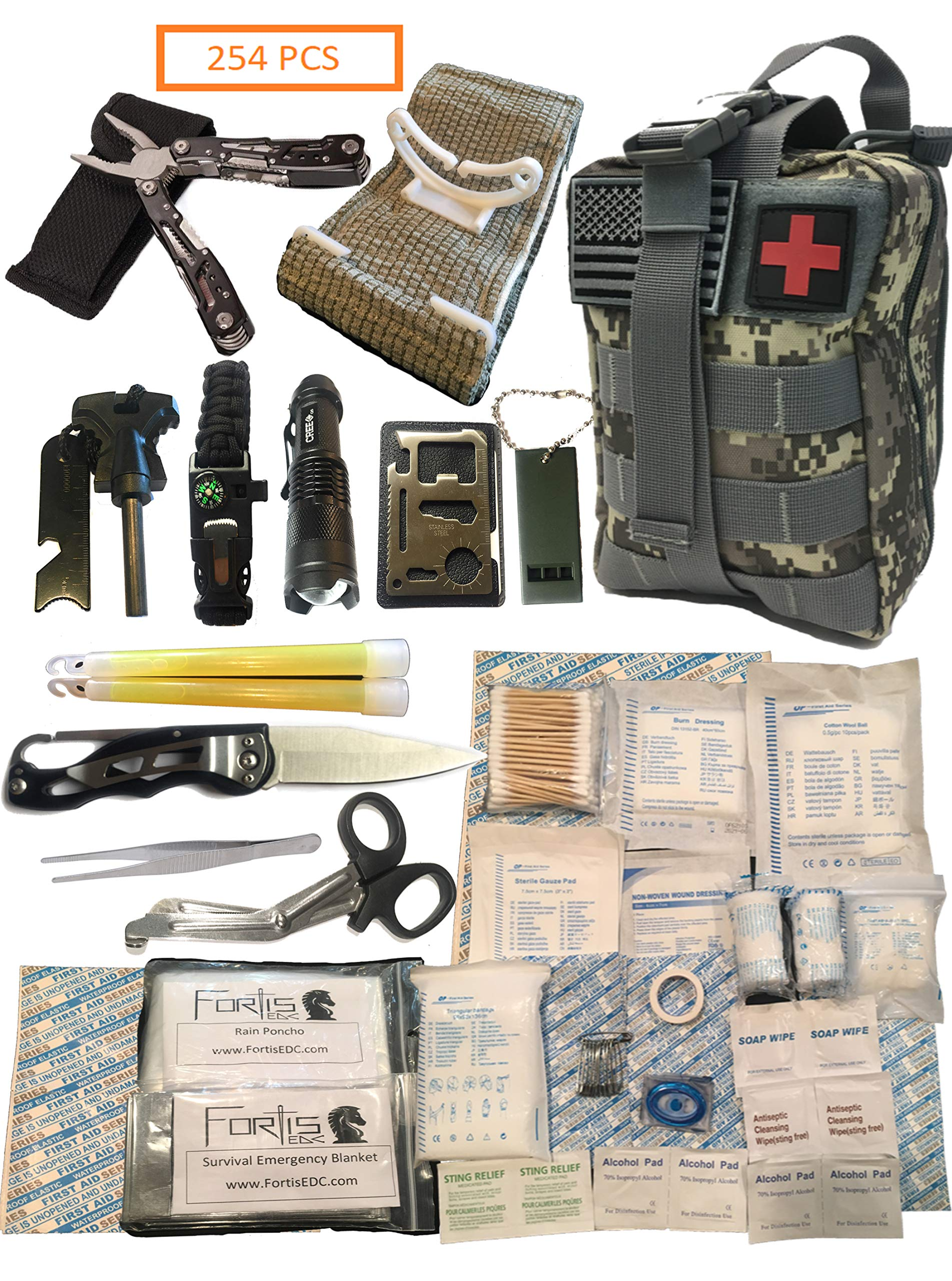 Fortis EDC Emergency First Aid Survival Kit Molle Bag Tactical IFAK for Car Travel Camping Hiking RV - with Israeli Bandage 4 inch Trauma Bleed Stop and Full Size Multi-Tool CPR Mask - 254 Piece by Fortis EDC