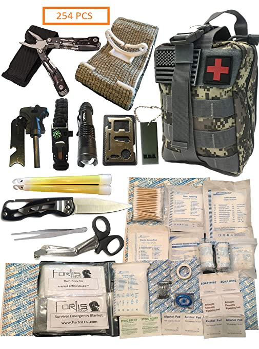Fortis EDC Survival First Aid Kit Molle Bag Tactical IFAK for Car Travel  Camping Hiking RV and Home - with Israeli Bandage 4 inch Trauma and