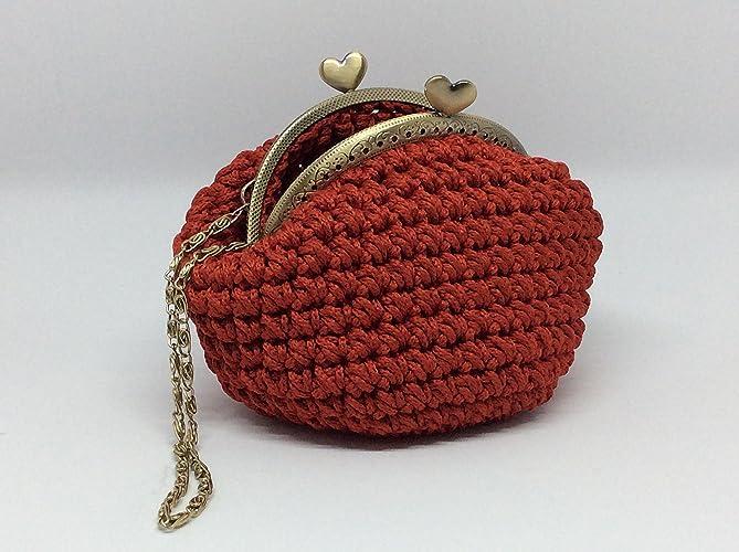 Cloe Romantico Portamonete Rosso Realizzato A Mano Con Uncinetto E