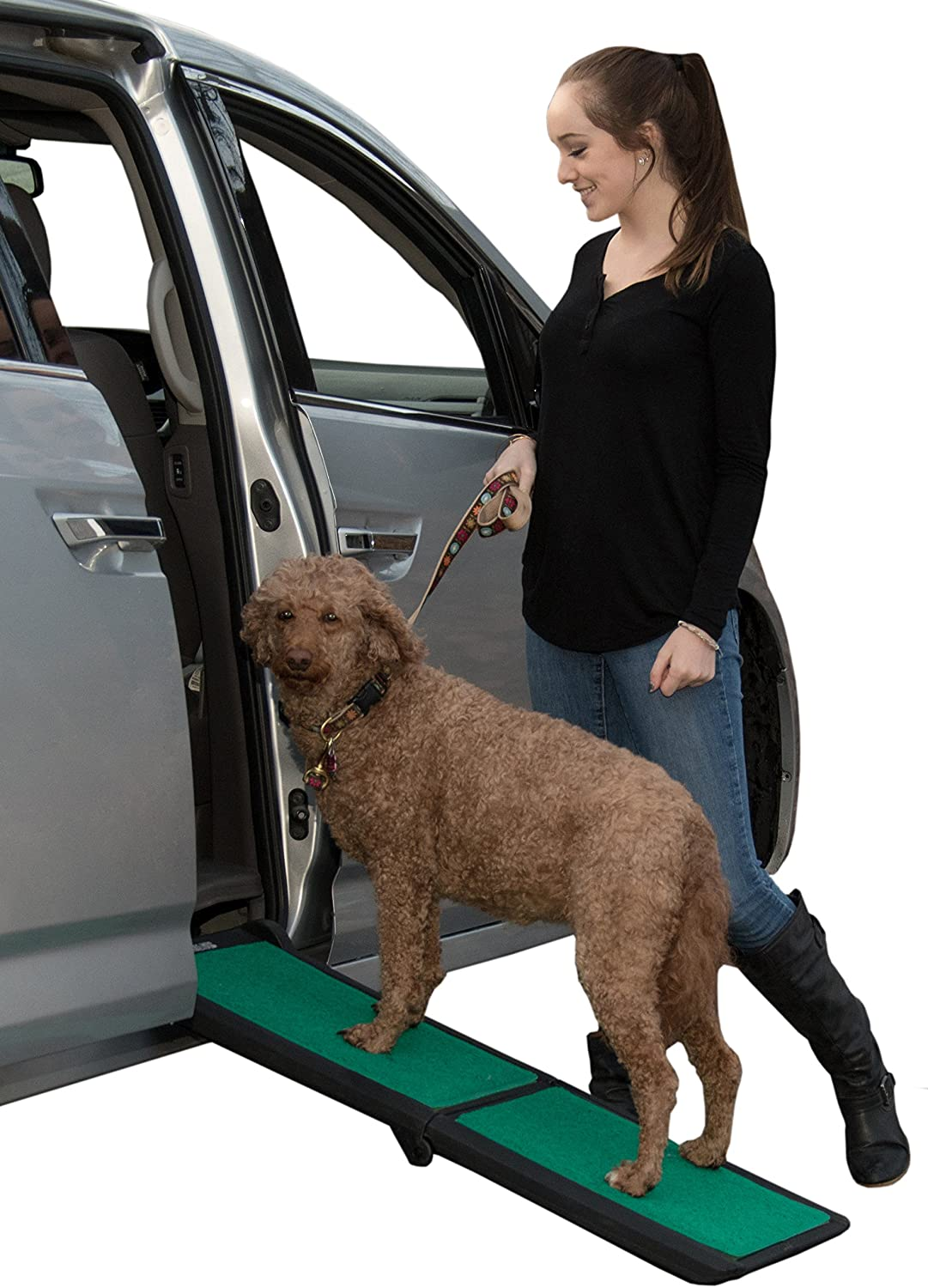 Pet Gear Travel Lite Ramp with supertraX Surface for Maximum Traction, 4 Models to Choose from, 42-71 in. Long, Supports 150-200 lbs, Find The Best Fit for Your Pet, Black/Green : Kitchen & Dining