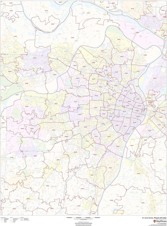 36 x 48 Paper Wall Map Missouri Louis County St