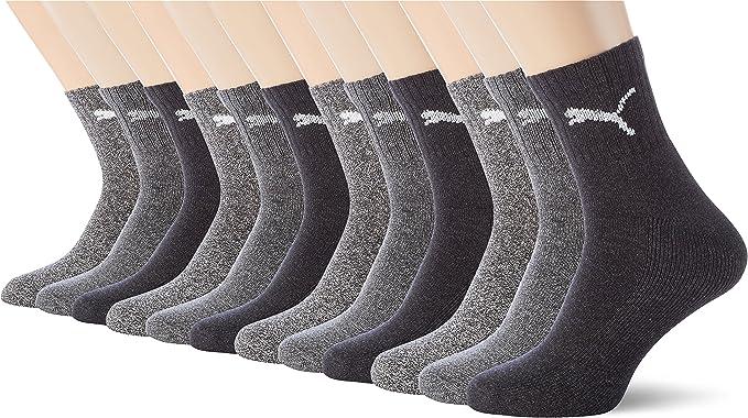 PUMA Unisexe Shorts Crew Chaussettes Chaussettes Chaussettes de Sport avec Semelles Éponge 12er Paquet