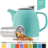 Tealyra - Drago Ceramic Teapot - 1100ml (5-6 cups) - Large Stylish High-Fired Ceramic Teapot with Stainless Steel Lid and Extra-Fine Infuser To Brew Loose Leaf Tea - Dishwasher-safe - BPA Free - Turquoise