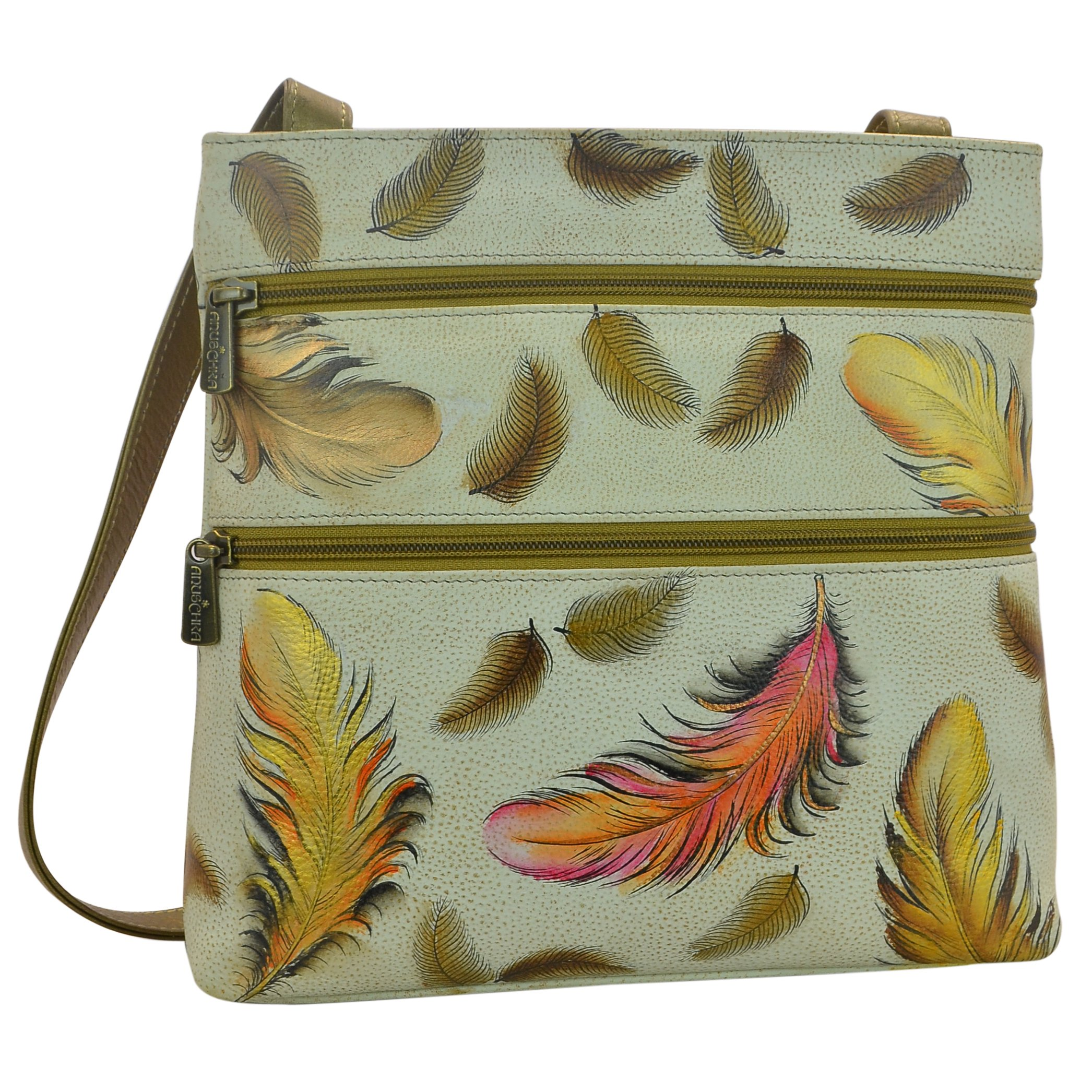Anuschka Handpainted Leather Compact Travel Organizer, I-Floating Feathers Ivory by Anna by Anuschka