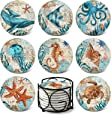 Absorbing Stone Ocean Life Coasters for Drinks by Teivio - Cork Base, with Holder, Unique Present for Friends, Men, Women, Birthday Housewarming Gifts, Apartment Kitchen Room Bar Decor, Set of 8