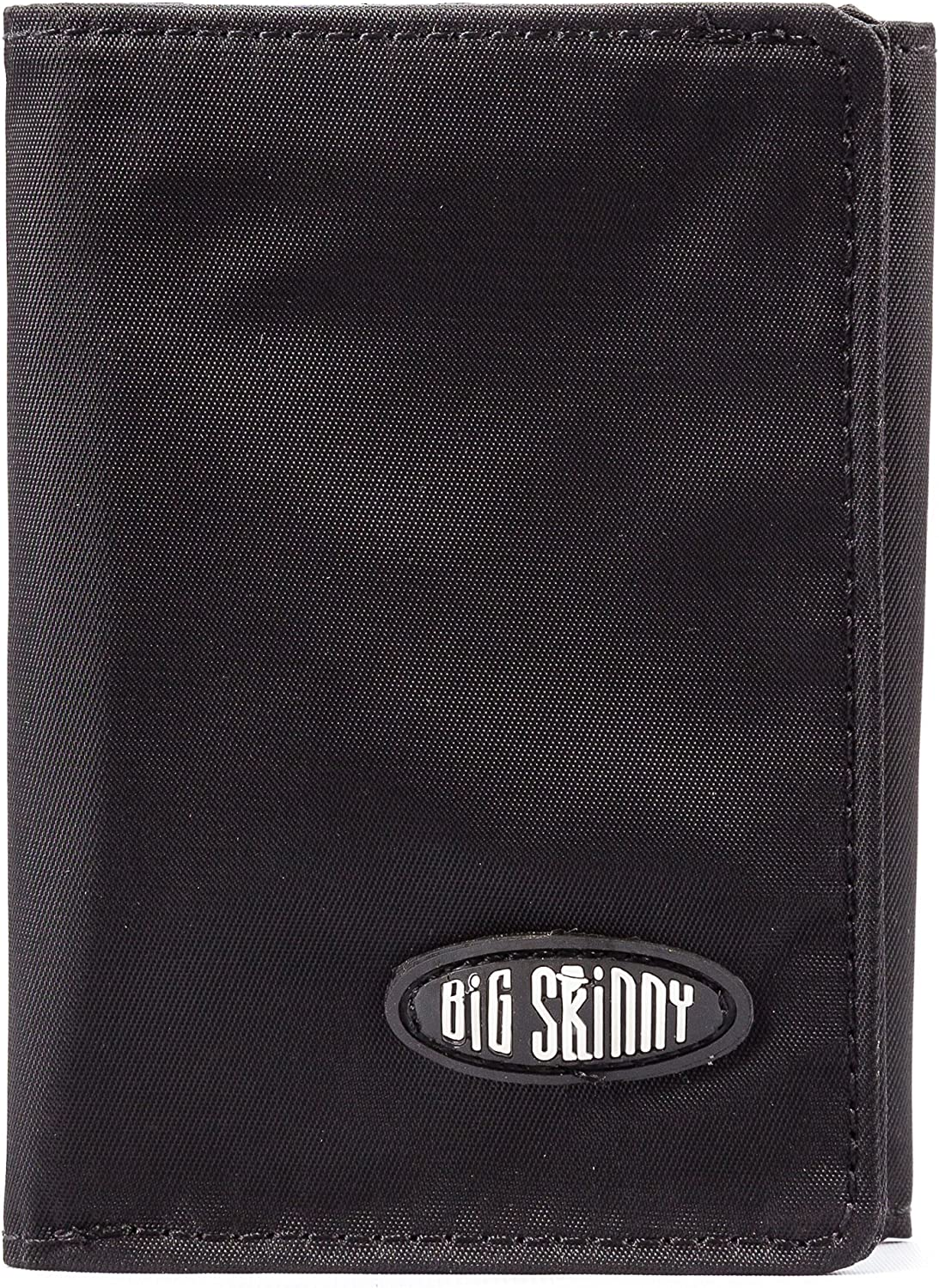 Big Skinny Mens RFID Blocking Tri-Fold Leather Slim Wallet Black Holds Up to 25 Cards