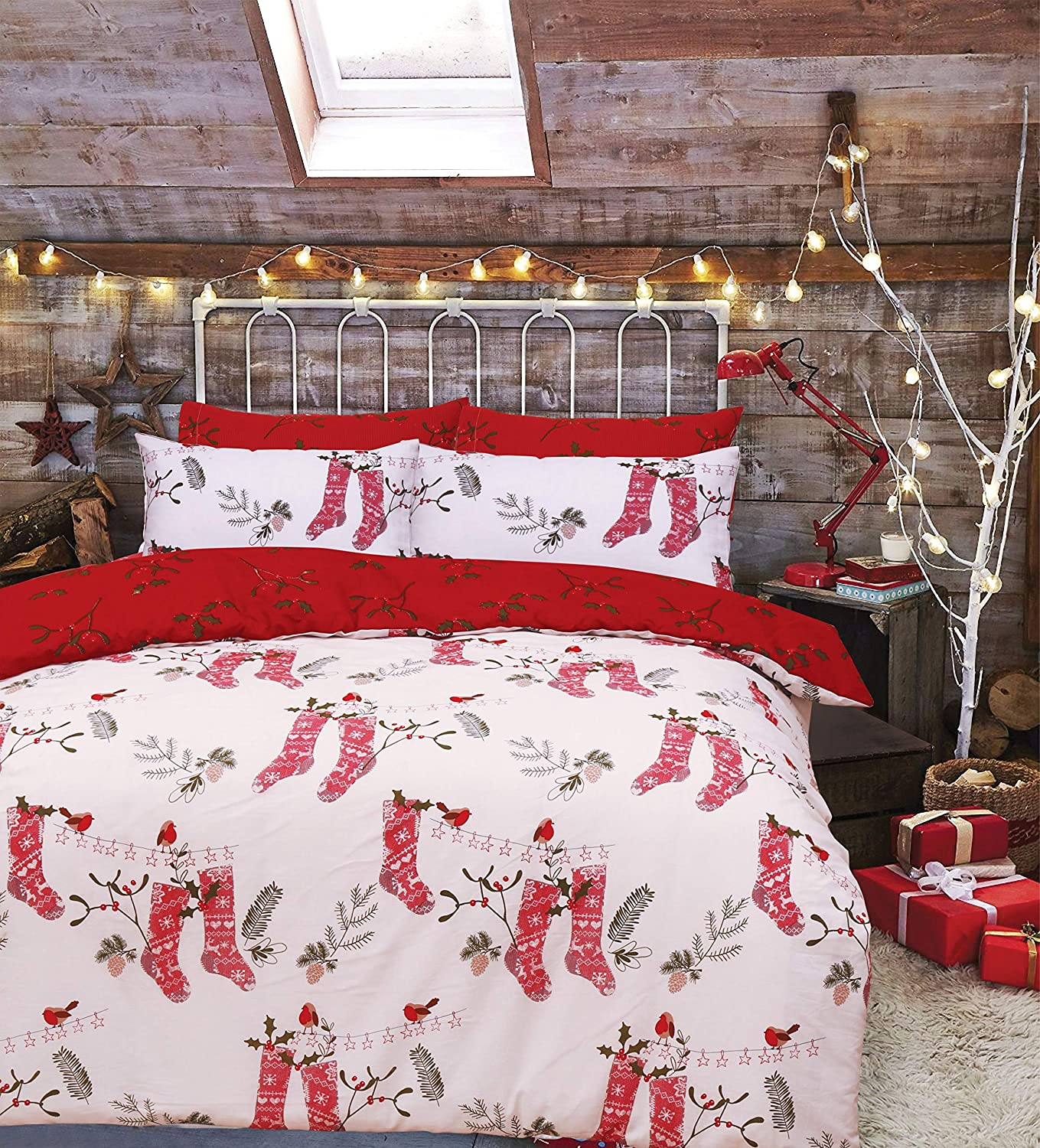 Red Christmas Stocking Robin Duvet Covers Xmas Print Easycare Quilt Bedding Sets