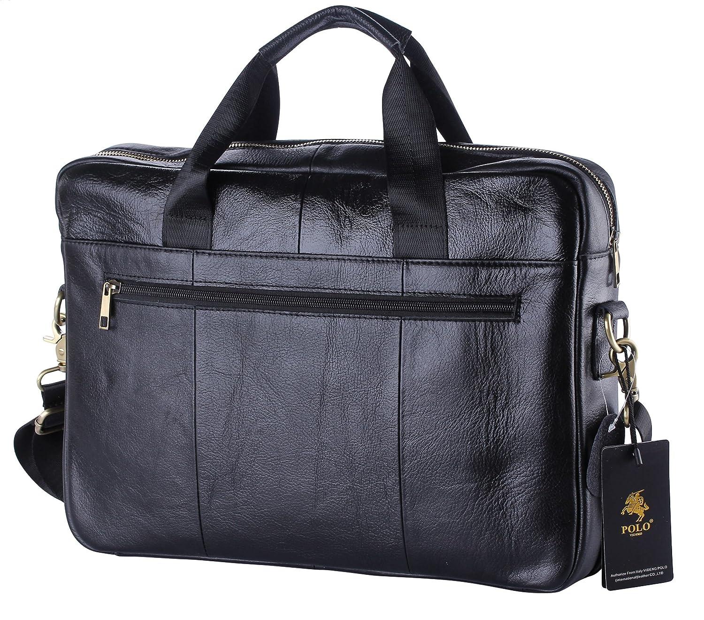 POLO VIDENG pour des Hommes V/éritable Cuir Fait Main Mallette /Épaule Messager Business Sac pour Macbook Portable Noir