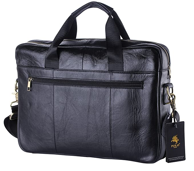 40a88b3be5 Amazon.com  VIDENG POLO Handmade Briefcase Top Grain Leather Laptop Bag  Messenger Shoulder Bag for Business Office 15 inch Macbook (MP-Black)   Computers   .