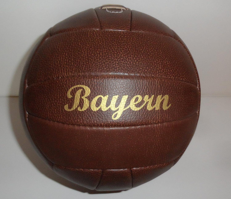 Fussball / Ball / braun / Gr. 5 / Nostalgieball / Nostalgie Ball / Retroball im Leder Look mit Ziernieten und goldenem Print Schriftzug Bayern Bavaria Home Style Collection