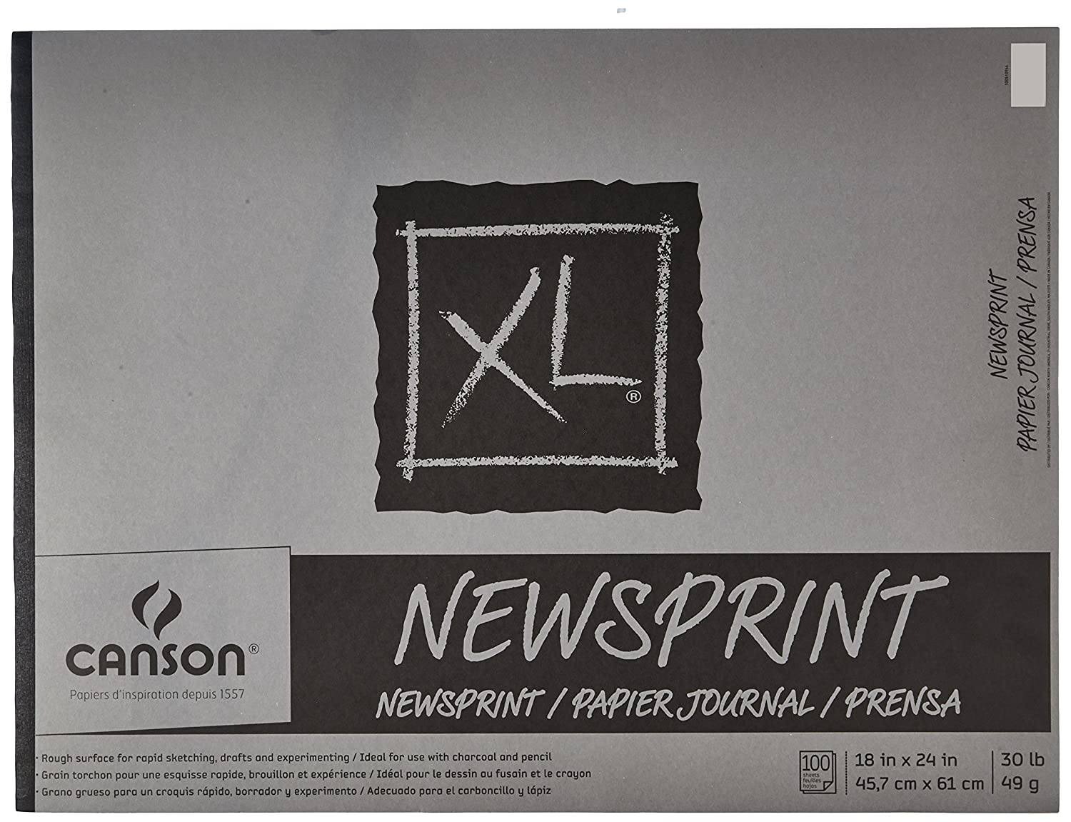 Canson 100510966 Biggie Newsprint Pad, Paper, 100 Sheets, 18 x 24 Size, White 18 x 24 Size Canson Inc 407601