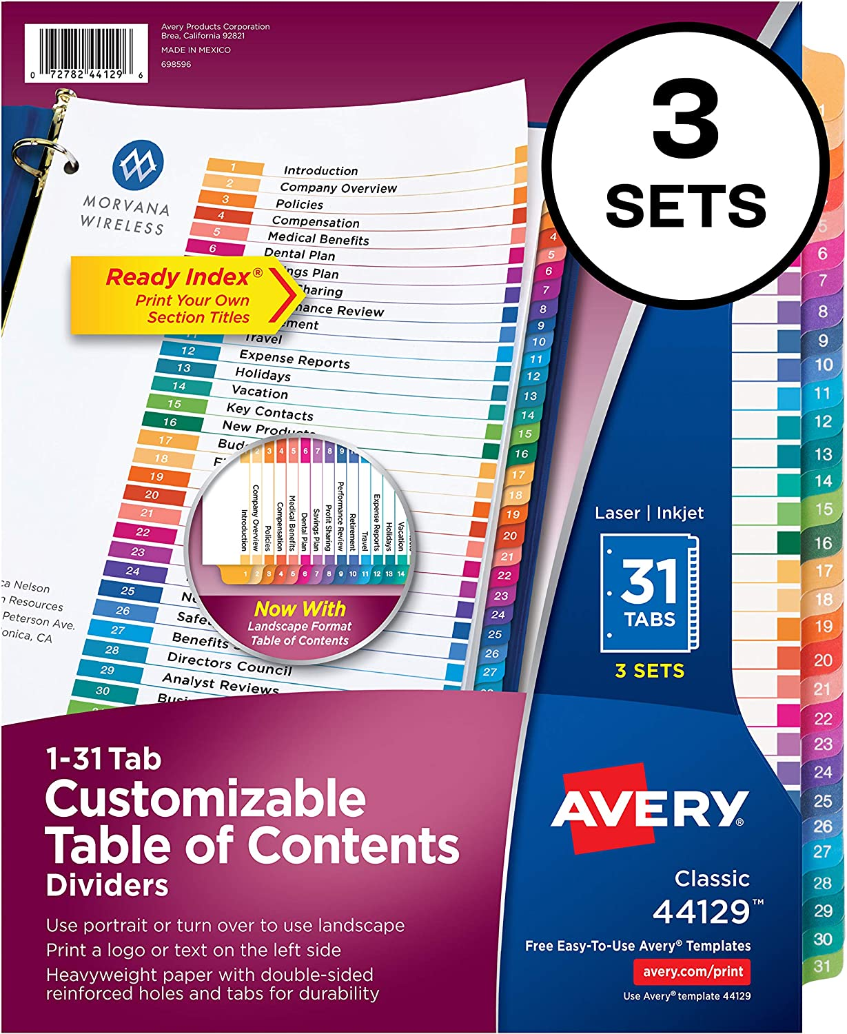 Avery Ready Index 31 Number Dividers, Customizable Table of Contents, Classic Multicolor Tabs, 3 Sets (44129)