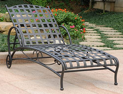 International Caravan Iron Multi-Position Patio Chaise Lounge