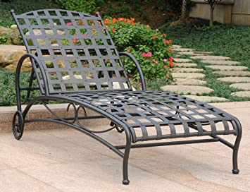 Iron Multi Position Patio Chaise Lounge