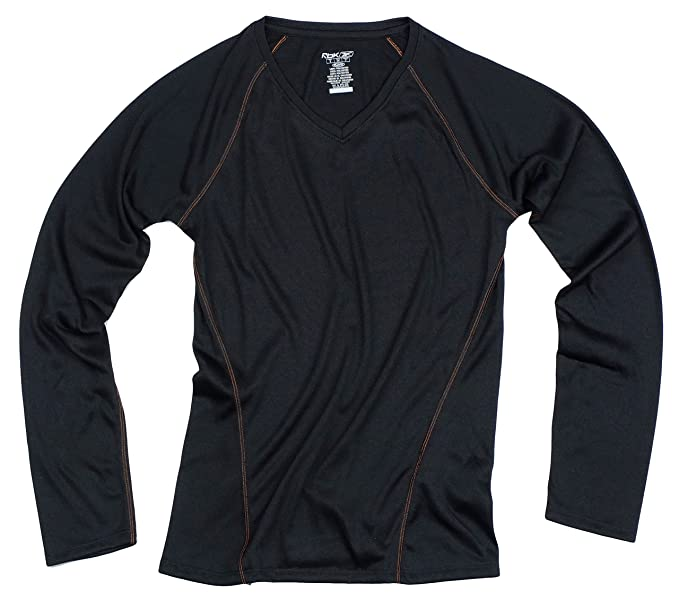 e440e7683e6a Amazon.com  Reebok PlayDry Womens Long Sleeve V-neck Athletic Shirt ...