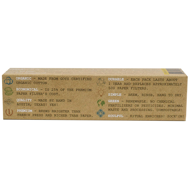 CoffeeSock Filtri per caff/è in cotone organico riutilizzabili Cone 4 Naturale certificati GOTS