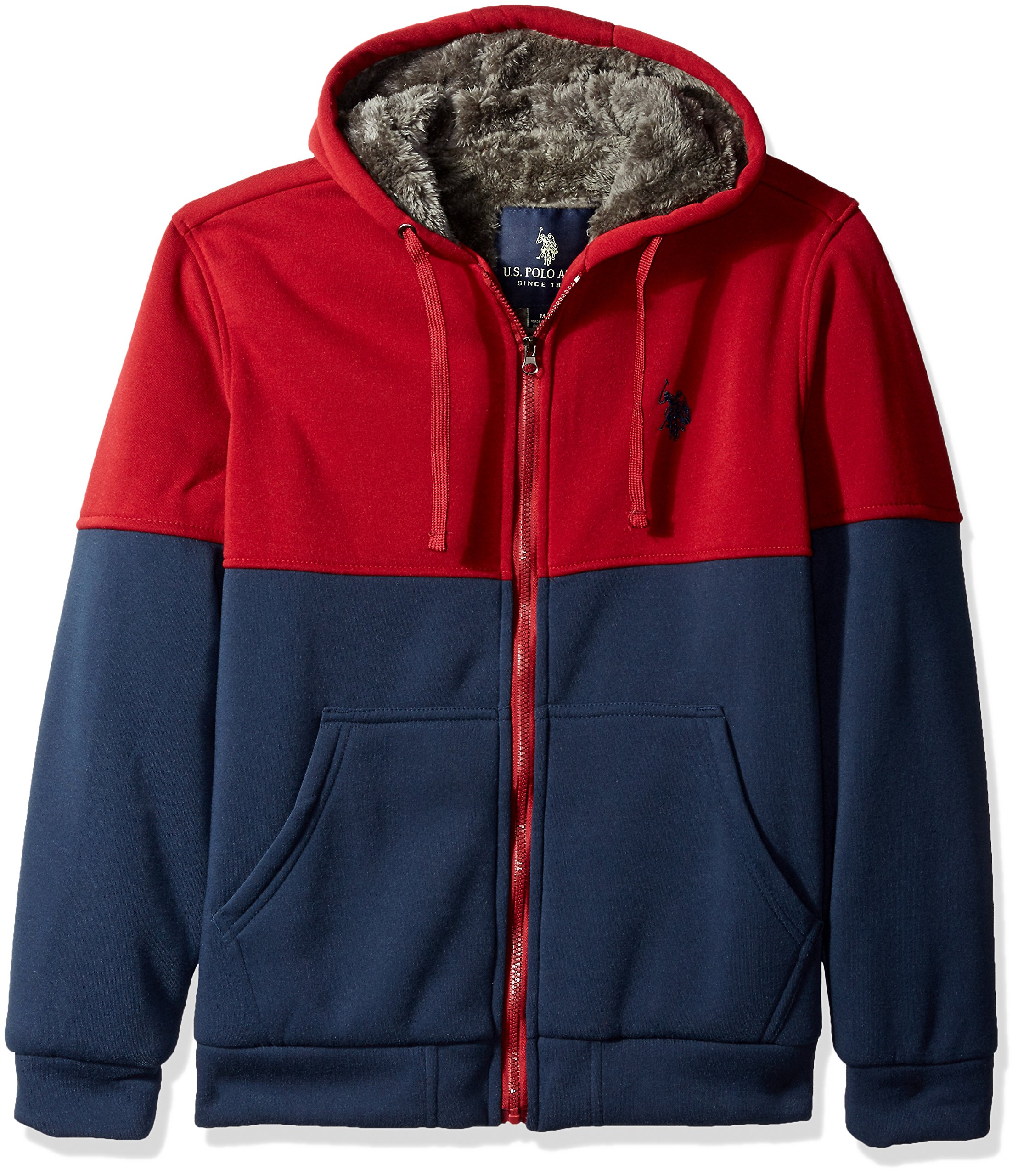 U.S. Polo Assn.. Men's Fleece Color Blocked Hoodie with Faux Sherpa Lining, University Red, Medium