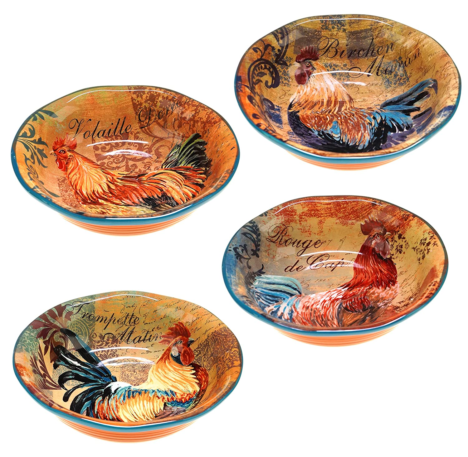 Certified International Rustic Rooster Soup/Cereal Bowls, 8.75-Inch, Multicolor, Set of 4 44137SET/4