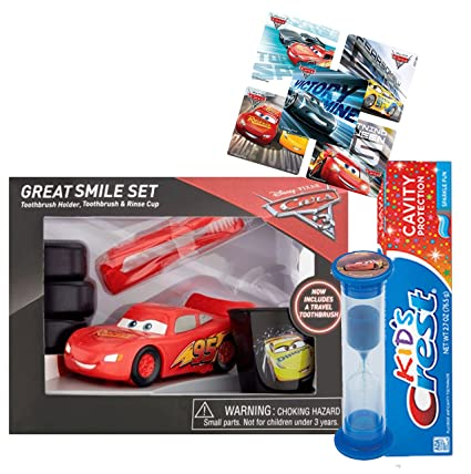 Disney Pixar Cars Rayo McQueen 6pieza gran sonrisa Set de regalo. Incluye cepillo de dientes