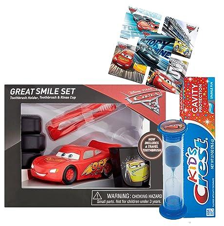 Disney Pixar Cars Lightning McQueen 6pc Great Smile Gift Set! Includes  Toothbrush, Brushing Timer Nice Look