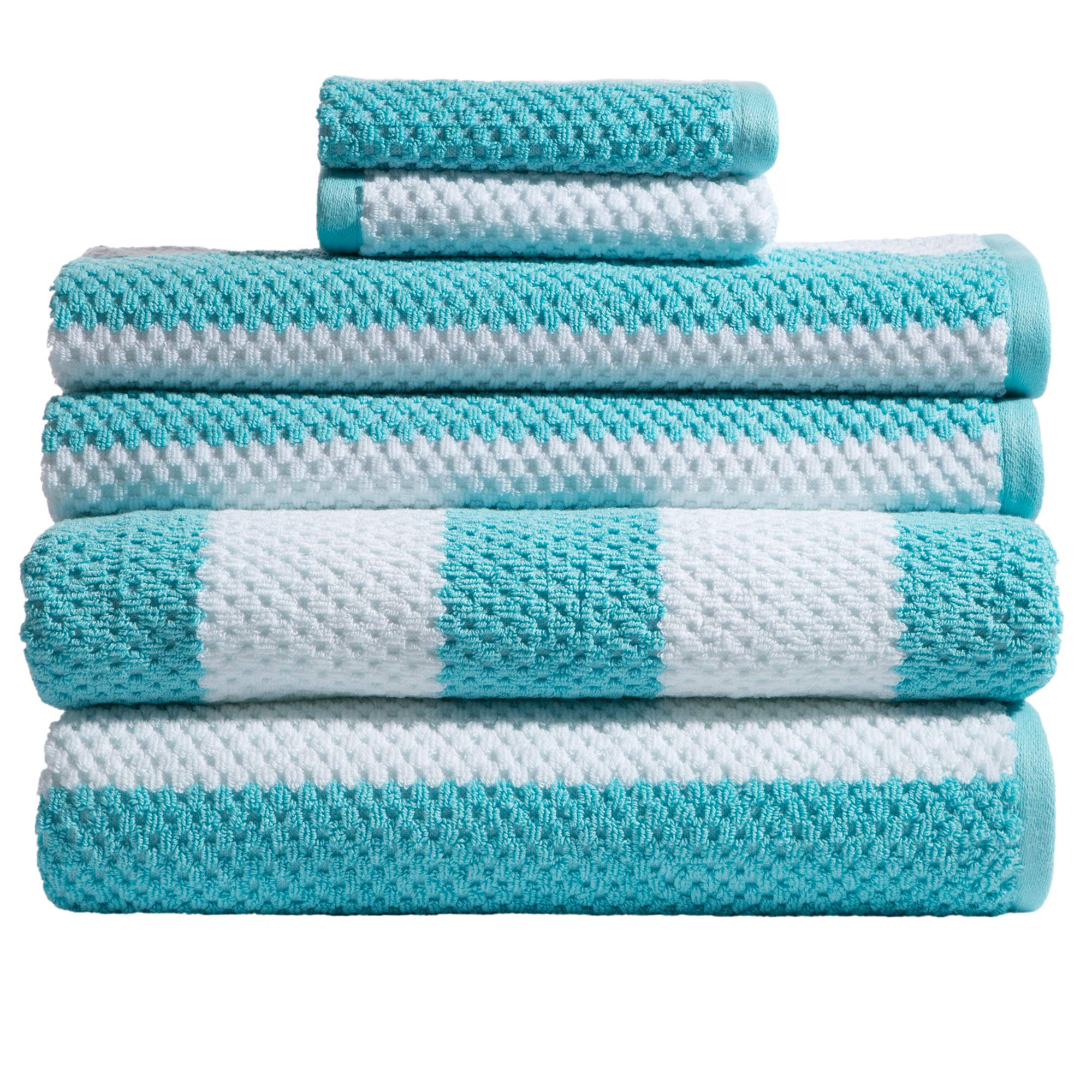 Caro Home 6PC-1075-T1-801 Stripes Rugby 6-Piece Cotton Bath Towel Set