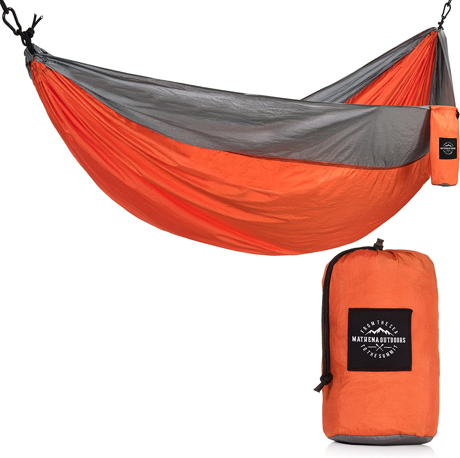 Mathena Outdoors Ultra-Strong Double Size Portable Hammock 210T Parachute Nylon Outdoor Hammock for Camping Hiking Beach Backyard Travel Festivals Fishing Sleeping Backpacking More