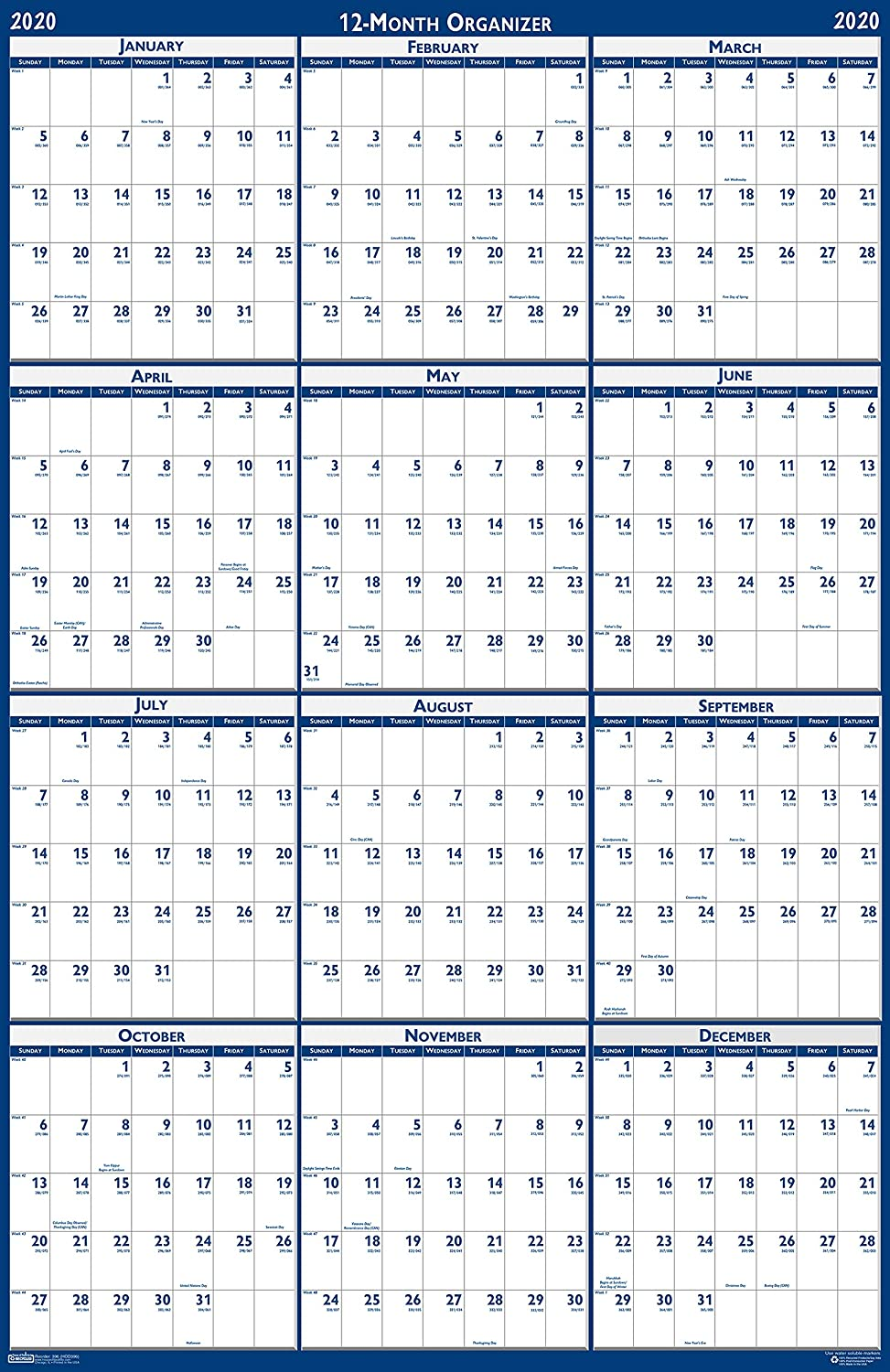 House of Doolittle 2020 Laminated Wall Calendar, Reversible, Horizontal/Vertical, 66 x 33 Inches, January - December (HOD3962-20)