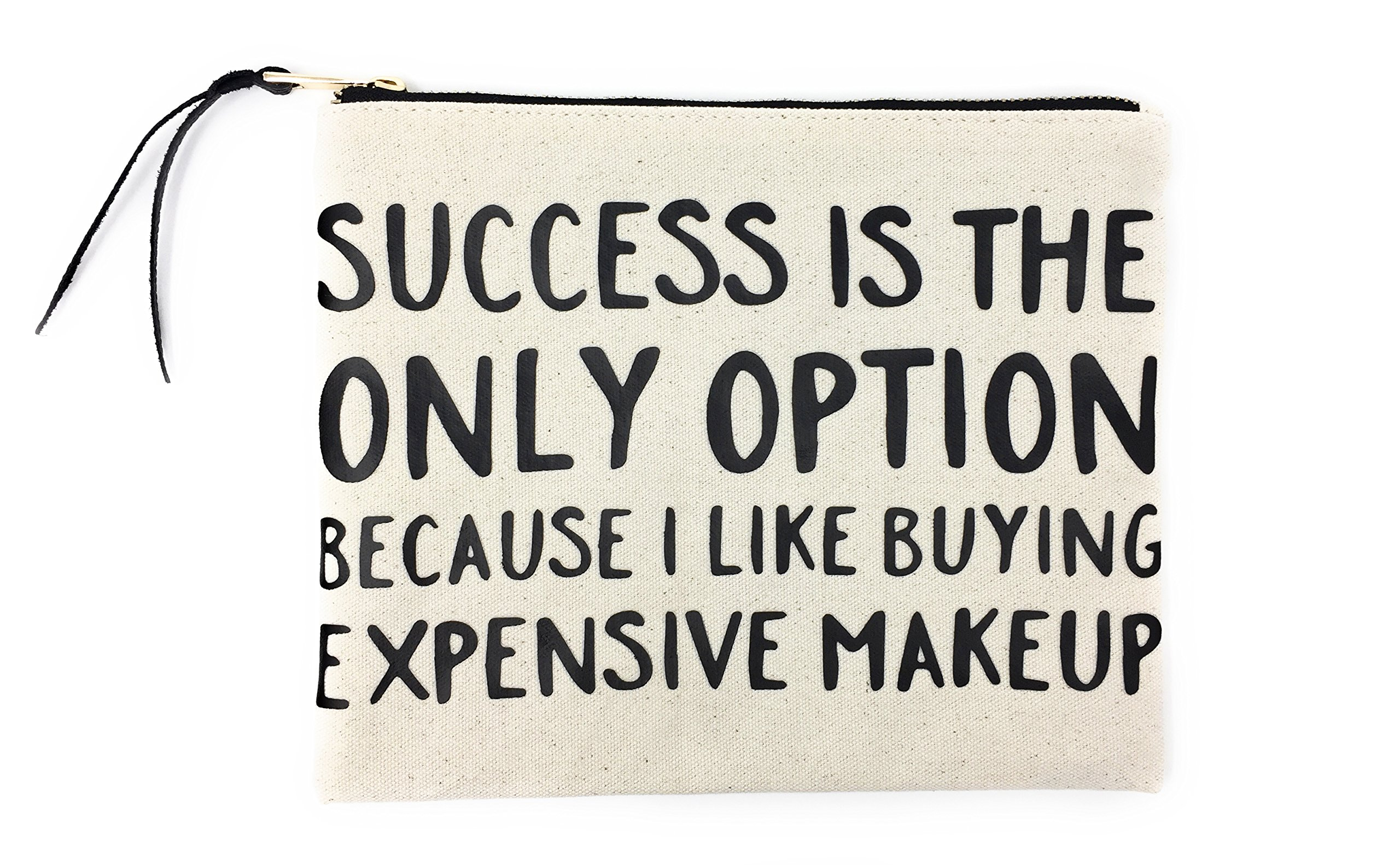Comfyable Canvas Makeup Bag, Cotton Cosmetic Pouch, Toiletry Travel Case, Printed with''Success Is The Only … Makeup''