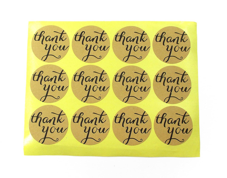 """120pcs /""""Thank You/"""" Label Paper Craft Packaging Seals Kraft Sealing Sticker"""