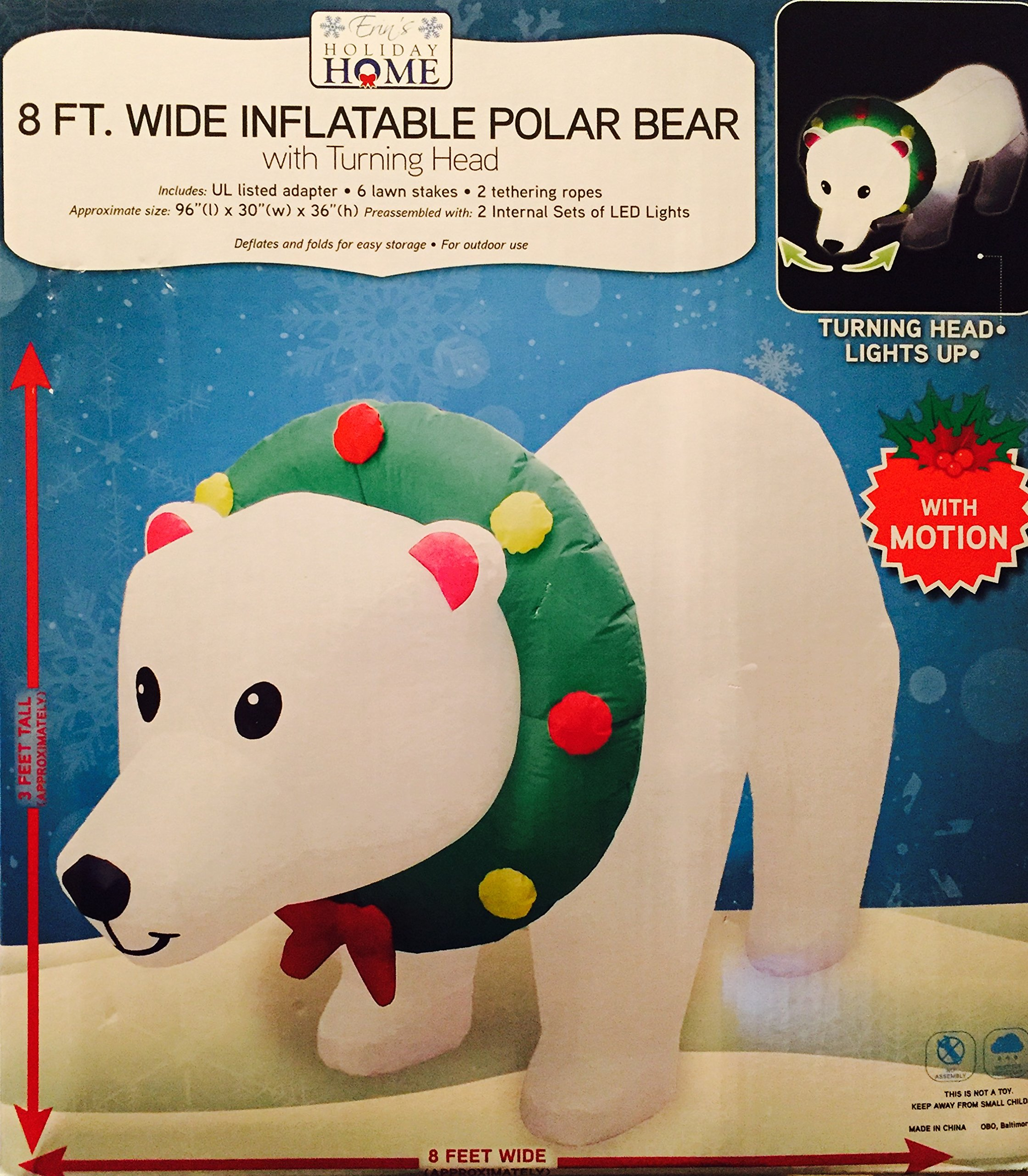 8 Ft Inflatable Polar Bear with LIGHTS and MOTION by Erin's Holiday Home
