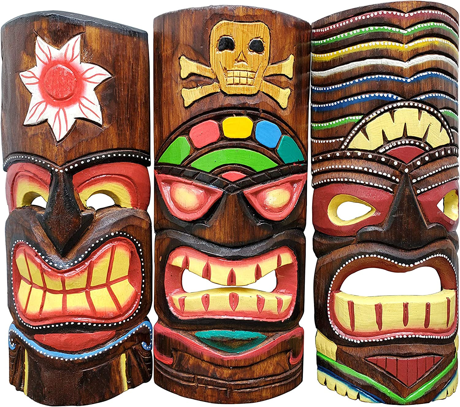 "Set of (3) Wooden Handcarved 12"" Tall Tiki Masks Tropical Wall Decor!"