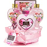 Home Spa Gift Basket - Red Rose Fragrance - Luxurious 6 Piece Bath & Body Set For Men & Women, Contains Shower Gel, Bubble Bath, Body Lotion, Bath Salt, Bath Pouf and Wired Heart Basket