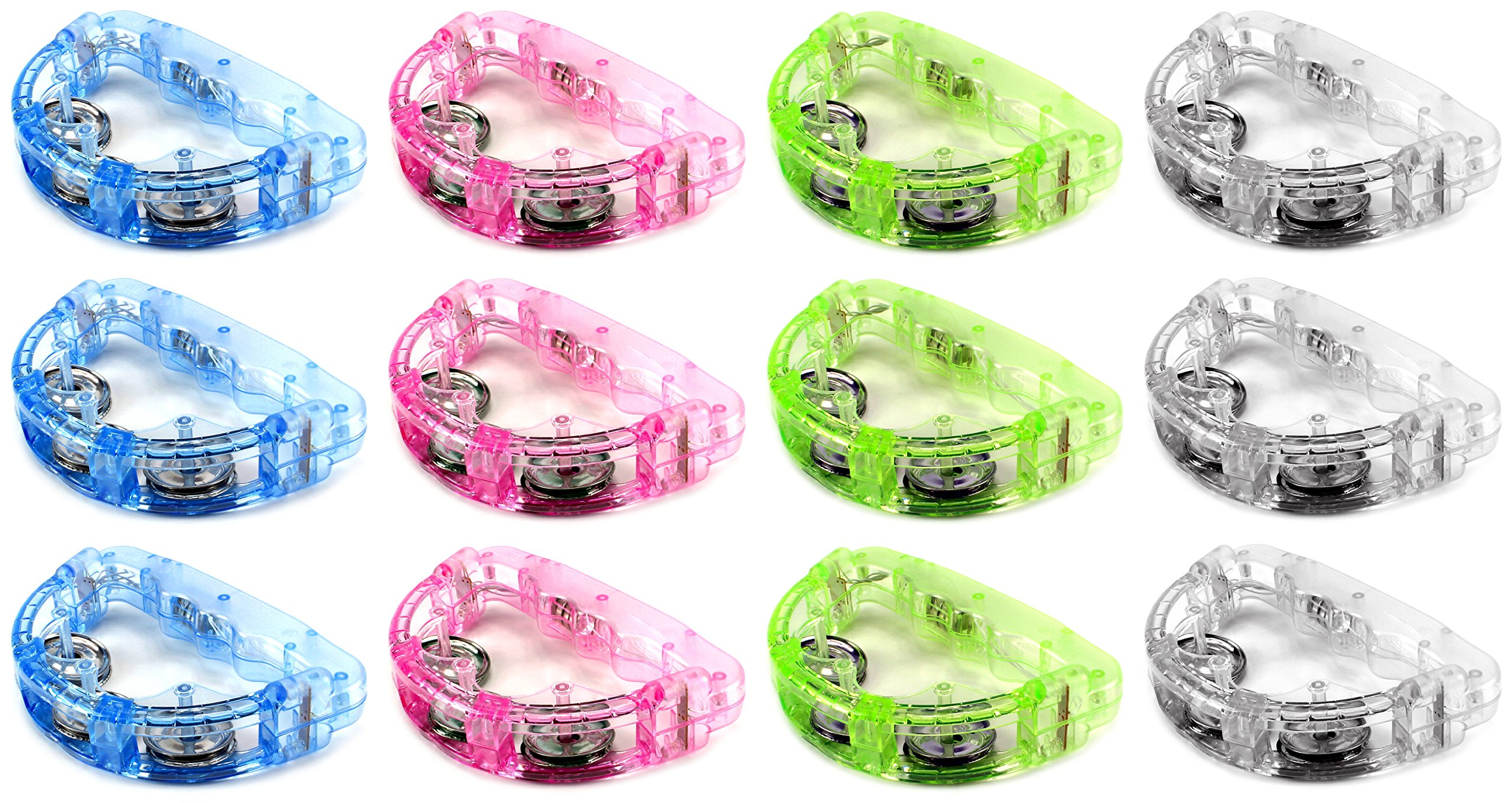 Set of 12 Flashing Light Tambourine Children's Kid's Novelty Toy Noise Maker w/ 3 Light Patterns, Perfect for Party Favors, Goodie Bags (Colors May Vary) by Toy Noise Makers