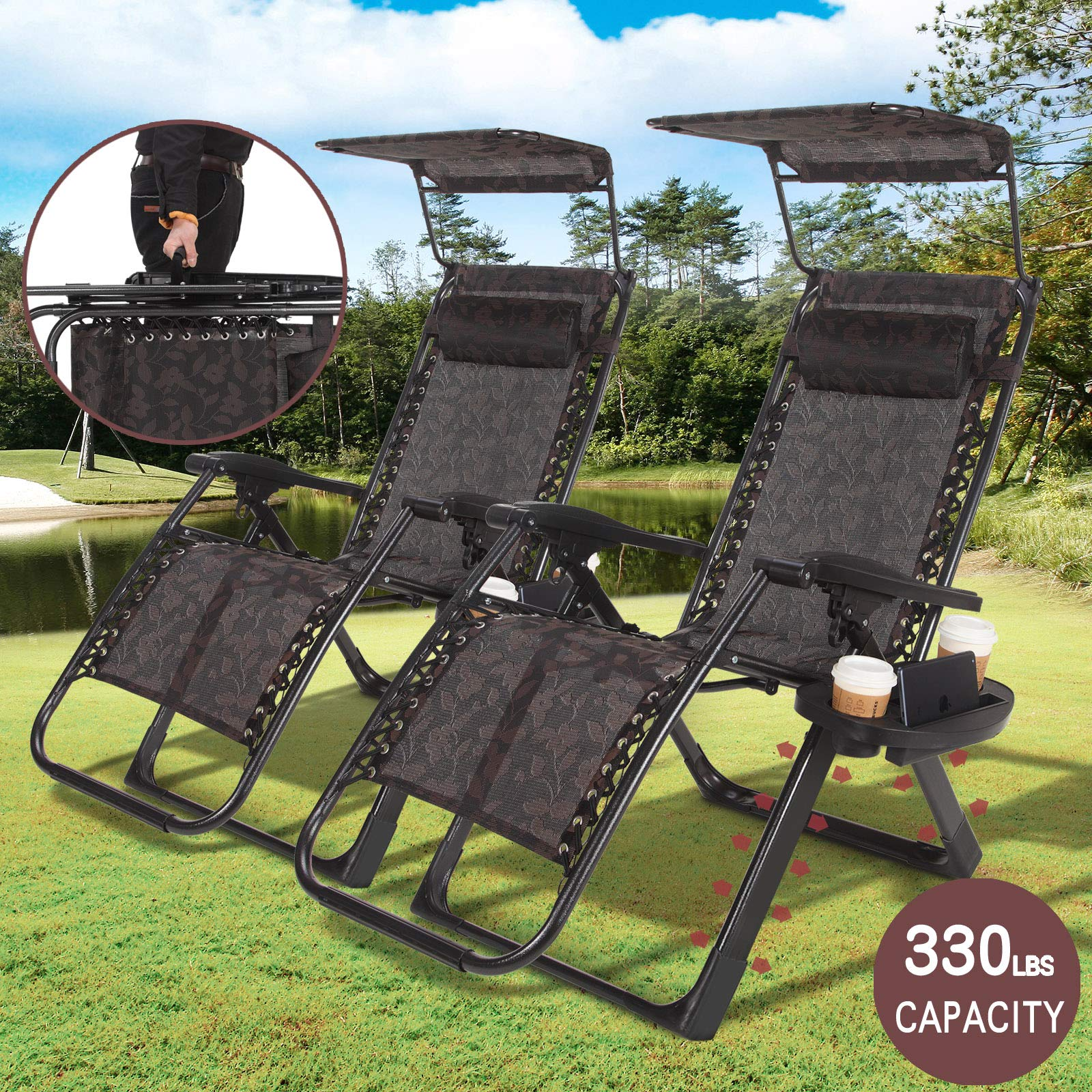Artist Hand Zero Gravity Chair Set of 2 Recliner Seats Black Flowered Durable Textilene Fabric Backrest Sunshade Canopy & Cup Holder Tray Folding Lounge Chair Easy to Carry with Handle