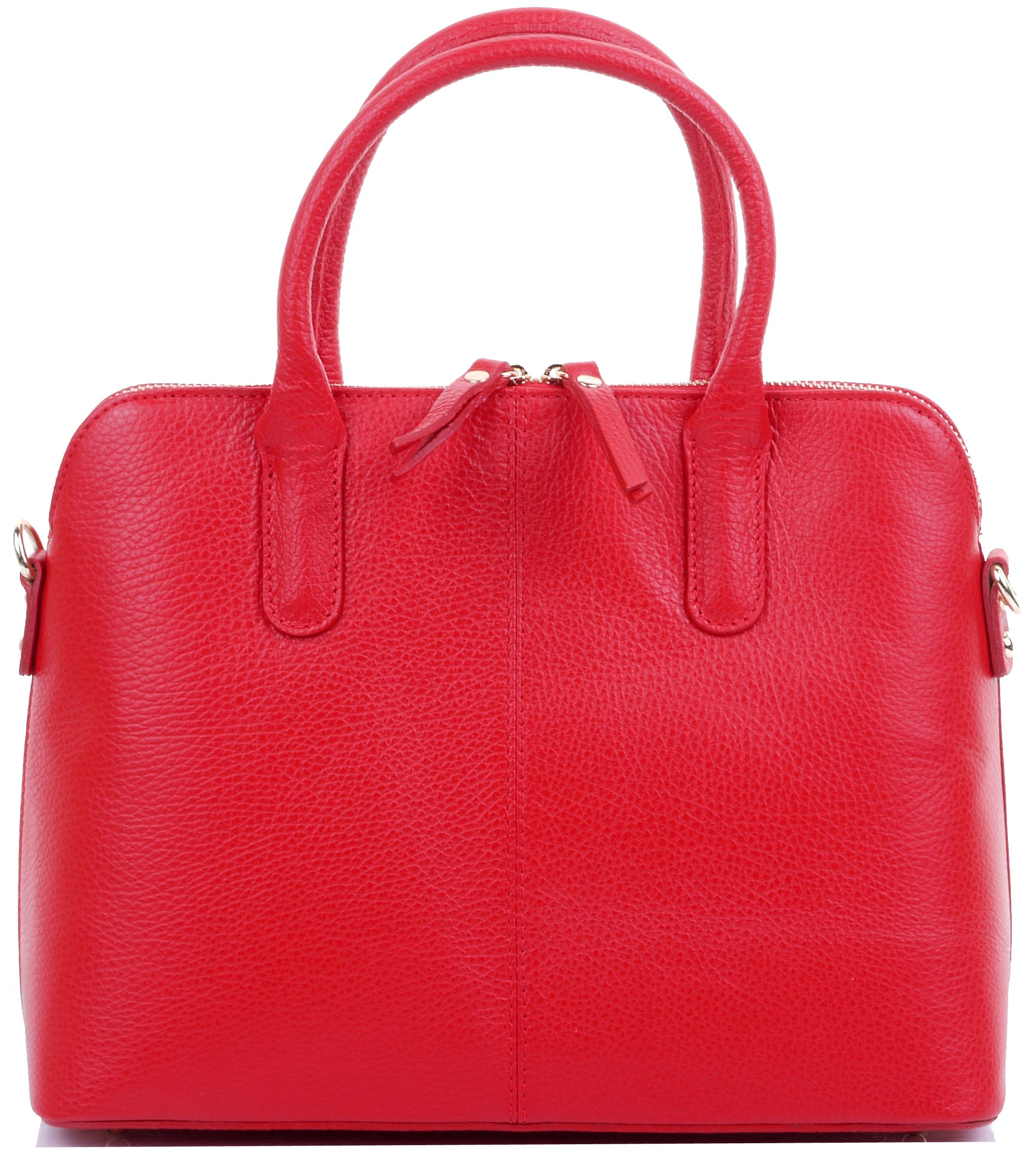 Primo Sacchi Italian Textured Red Leather Bowling Style Tote Grab Bag or Shoulder Bag Handbag
